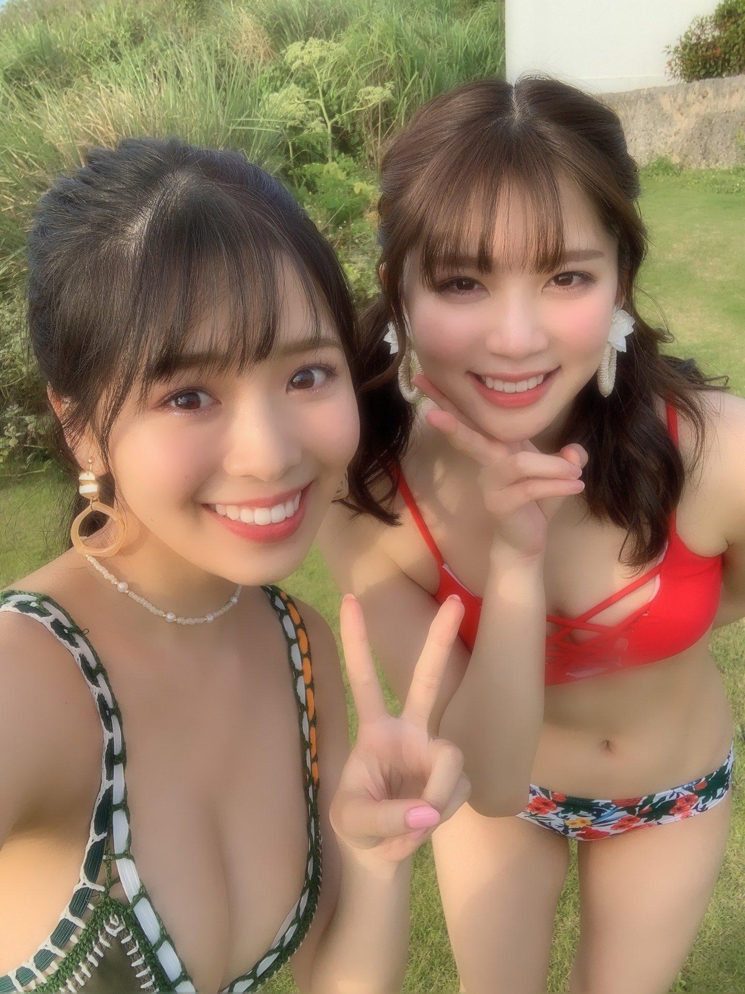NGT48奈良未遥「嬉しすぎる組み合わせ…」NMB48安田桃寧とビキニで仲良くツーショット【画像3枚】の画像002