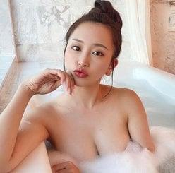 """""""現役RQ""""福江ななか「Gカップ乳を泡でガード」刺激的な入浴ショットの画像"""