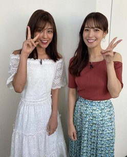 鷲見玲奈アナ「岡副麻希アナと初2ショット」美女たちのコラボが眼福!の画像